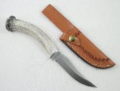 Silver Stag Deer Skinner Knife Crown Burr Antler Handle D2 Steel
