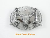 Buffalo Skull With Eagles Diamond Cut Pewter Belt Buckle