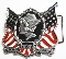 U.S.A.  Liberty and Justice Enameled Pewter Belt Buckle