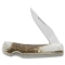 Silver Stag Small Back Lock Folder D2 Tool Steel Stag Handles