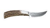 Silver Stag Damascus Ultimate Processor Fixed Blade Antler Handl