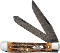 Case CA34800 Damascus Trapper Folding Knife Bone Stag Handles