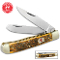 Kissing Crane Amber Bone Trapper Pocket Knife 440 Stainless